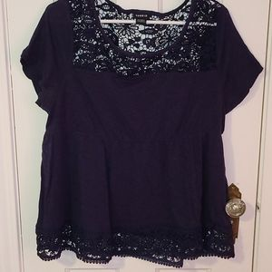 Torrid size 1 navy shirt with cut out pattern